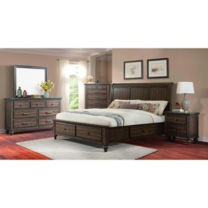 Elements International Chatham Gray Queen Bedroom Group