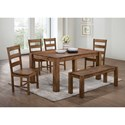 Elements International Cheyenne Dining Set with Bench - Item Number: DCY100DT+DCY100BN+4xDCY100SC