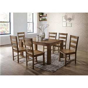 Elements International Cheyenne Table and 6 Chair Set