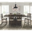 Elements Colorado Counter Height Dining Set - Item Number: DCO100CDT+CDB+6xCSC