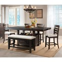Elements International Colorado Counter Height Dining Set with Bench - Item Number: DCO100CDT+CDB+CBN+4xCSC