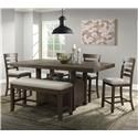 Elements International Colorado Transitional Counter Height Dining Group wit - Item Number: GRP-DCO100-TABLE-4-BENCH