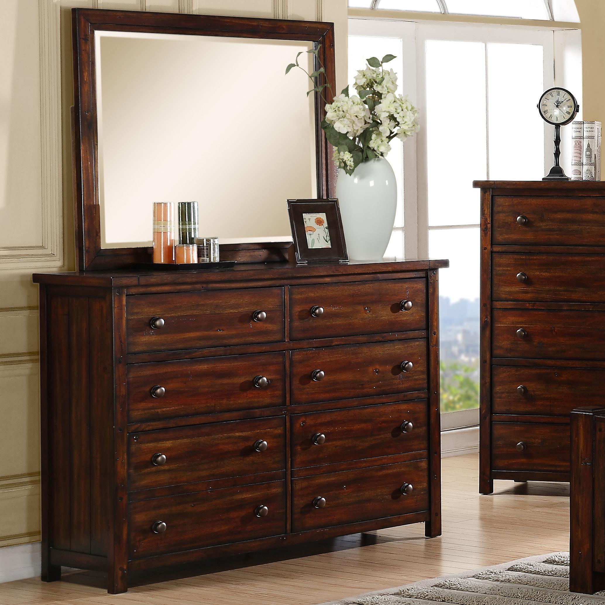 Elements International Boardwalk Dresser and Mirror Set - Item Number: DS600DR+MR