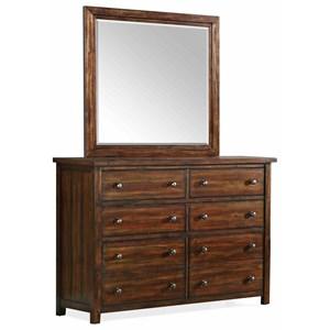 Elements International Dawson Creek 8-Drawer Dresser and Mirror Set