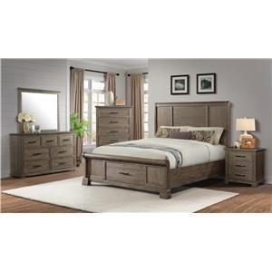 Elements International Daybreak Queen Storage Bed, Dresser, Mirror, and Nigh