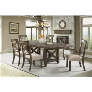 Elements International Franklin Dining Table & 6 Chairs