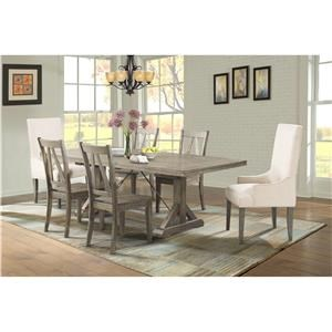 Elements International Finn Dining Table, 4 Side Chairs & 2 Parsons Chai
