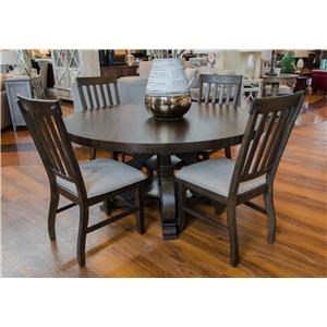 Elements International Stone Round Dining Table & 4 Side Chairs