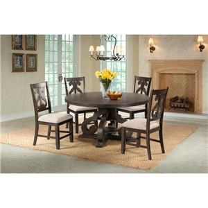 Elements International Stone Round Pedestal Table & 4 Chair Set