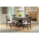 Elements International Stone Round Pedestal Table & 4 Chair Set - Item Number: GRP-DST180-TBL 4-SWIRL