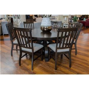 Round Dining Table & 6 Side Chairs