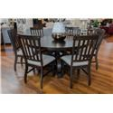 Elements International Stone Round Dining Table & 6 Side Chairs - Item Number: GRP-DST180-TBL 6