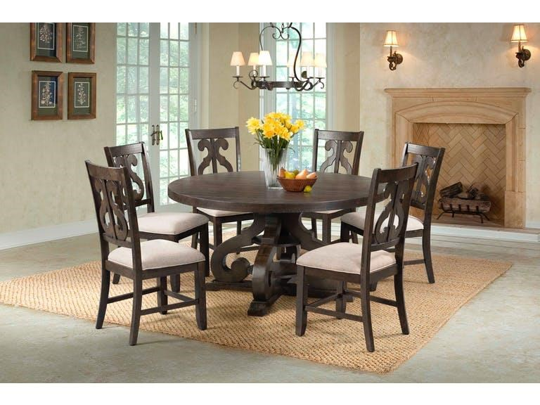 Round Pedestal Table & 6 Chair Set