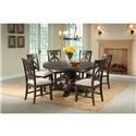 Elements International Stone Round Pedestal Table & 6 Chair Set - Item Number: GRP-DST180-TBL 6-SWIRL
