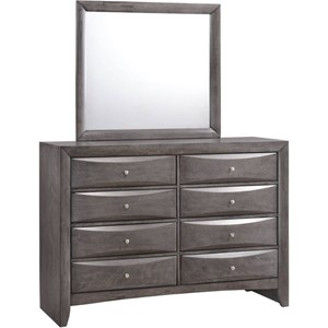 Elements International Emily 8 Drawer Dresser and Mirror