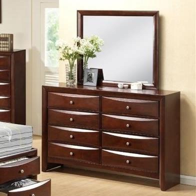 Elements International Emily 8 Drawer Dresser and Mirror - Item Number: EM200DR+MR