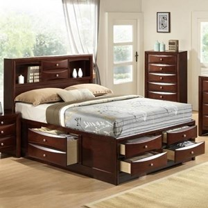 Emily Transitional King Bed with Dovetail Drawers by Elements International