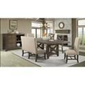 Elements International Franklin Table Set with Dining Bench - Item Number: DFK100DT+BN+2xFSC+2xXSC