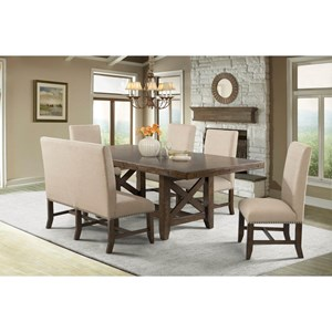 Elements International Franklin Table Set with Dining Bench