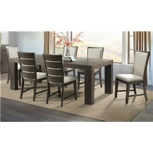 Dining Table with 6 Slat Back Chairs