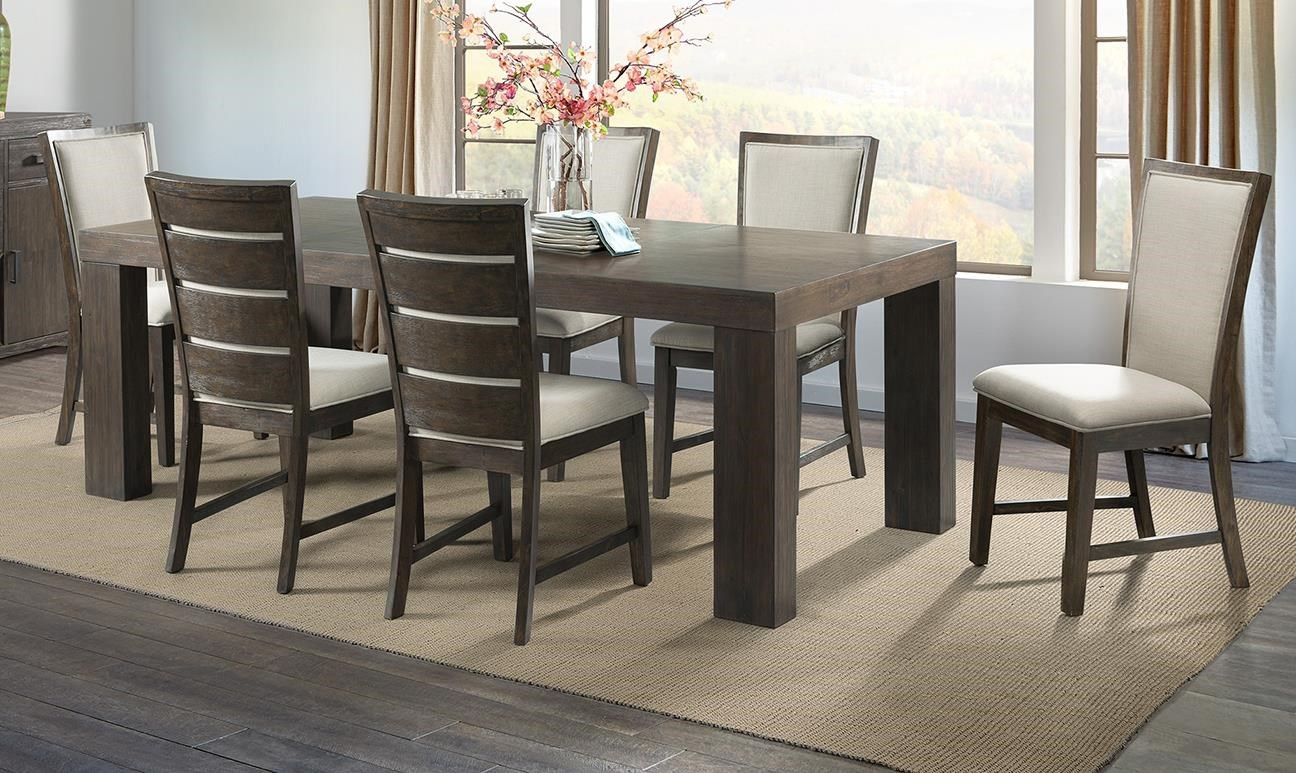 Grady Dining Table, 4 Slat Chair, 2 Upholstery by Elements International at Johnny Janosik