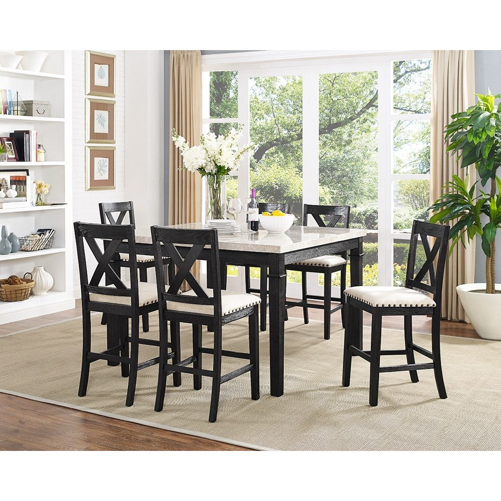 Low Cost Dining Table Sets: Elements International Greystone Counter Height Dining Set