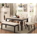 Elements International Greystone Table and Chair Set with Bench - Item Number: DGS100DT+DGS100BN+4xDGS100FSC