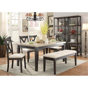 Elements International Greystone Table and Chair Set with Bench