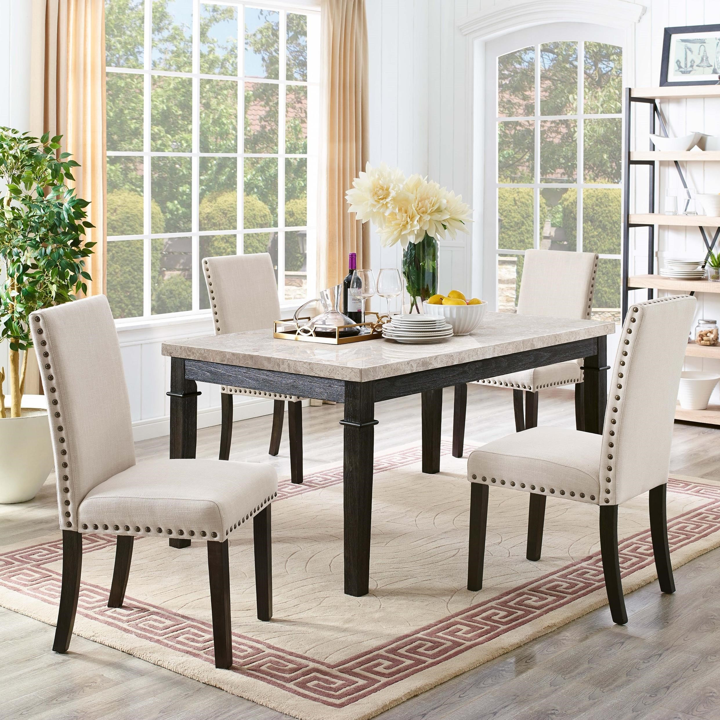 Elements Greystone 5 Piece Dining Set With 4 Upholstered Side Chairs Royal Furniture Dining 5 Piece Sets