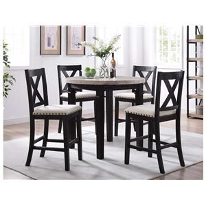 Elements International Greystone Round Counter Table & 4 Counter Stools