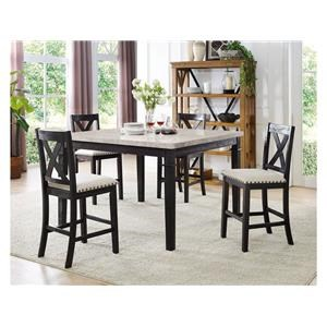 Elements International Greystone Counter Table & 4 Counter Stools