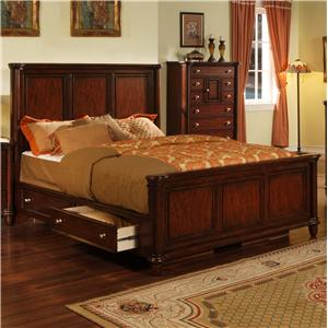Hamilton Queen Transitional Rich Brown Panel Bed with Storage Drawer Rails by Elements International