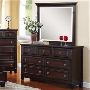 Elements International Harwich Dresser & Mirror Set