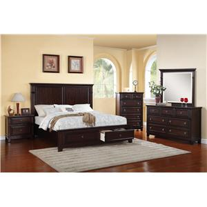 Elements International Harwich Queen Bed, Dresser and Mirror ...