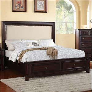 Elements International Harwich Queen Upholstered Storage Bed