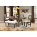 Elements International Jax Dining Set - Item Number: DJX100DT+DB+6x150SC