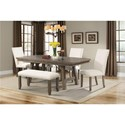 Elements International Jax Dining Set with Bench - Item Number: DJX100DT+DB+BN+4xSC