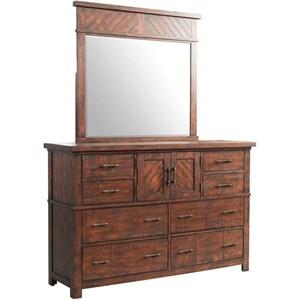 Elements International Jax Dresser and Mirror Set