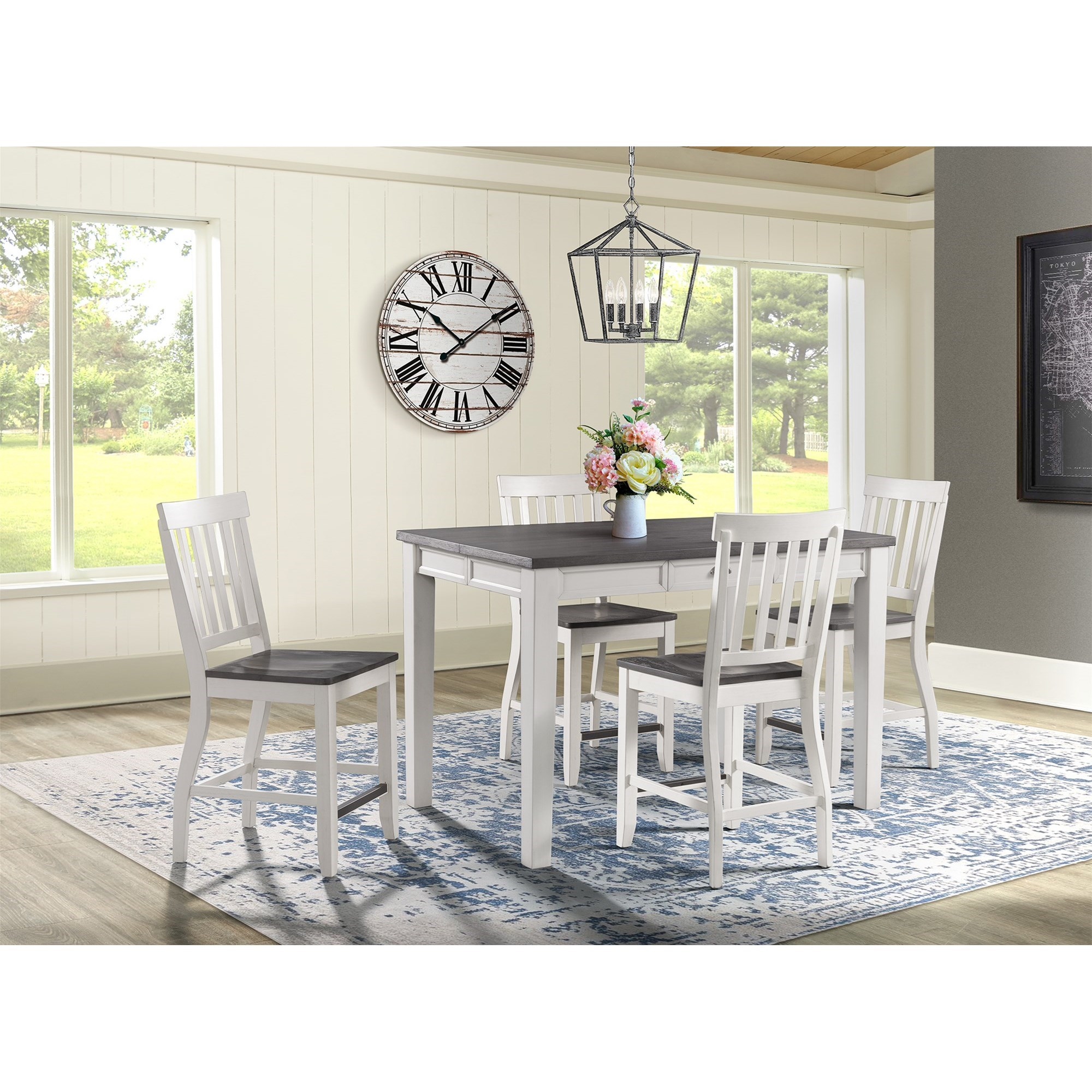 Kayla 5-Piece Counter Height Dining Set by Elements International at Johnny Janosik