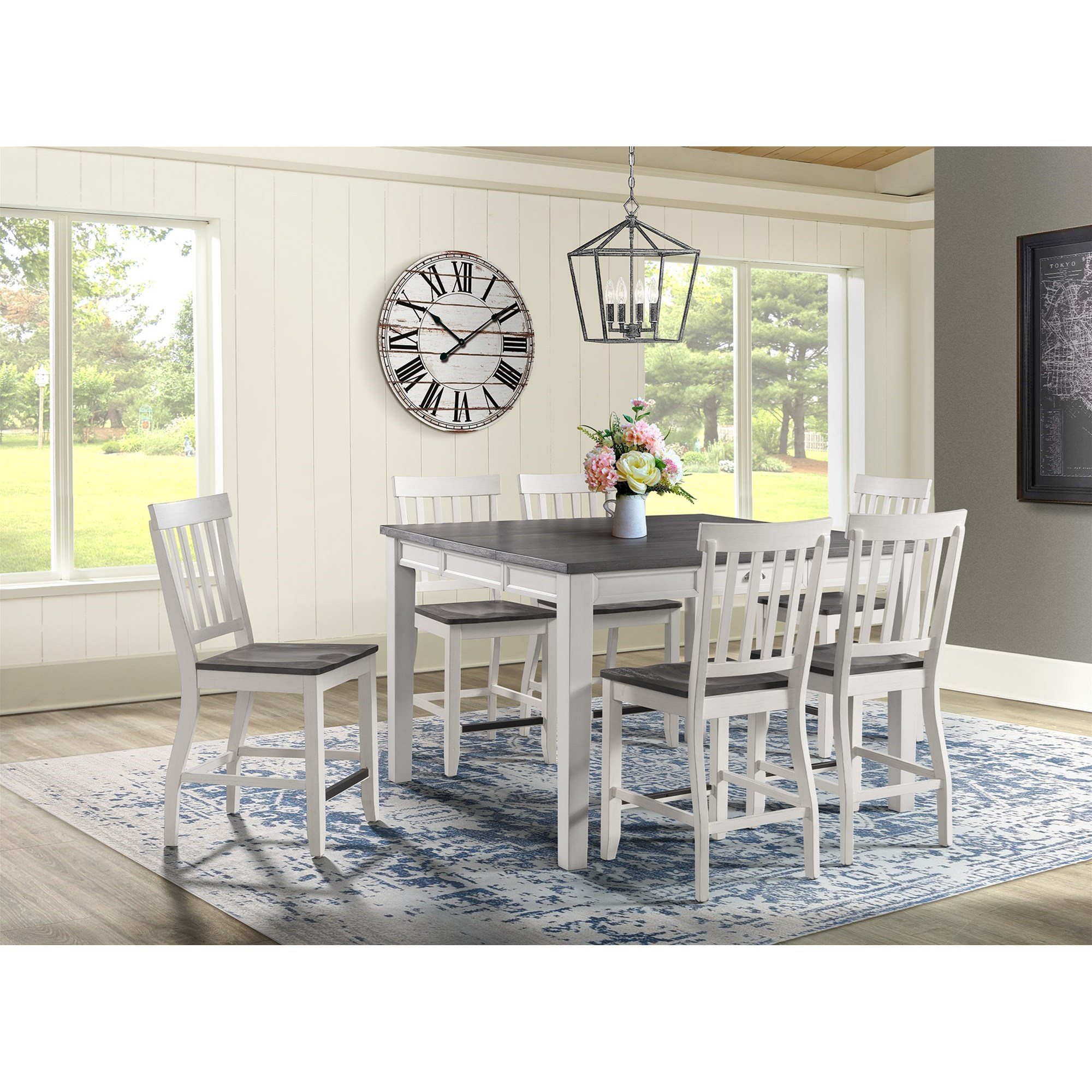 Kayla 7-Piece Counter Height Dining Set by Elements International at Johnny Janosik