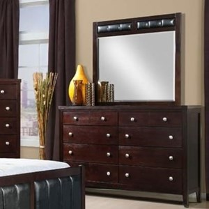 Lawrence Wood Framed Mirror with Upholstered Accent by Elements International