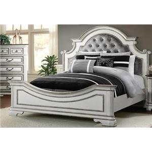 Elements International LH700 Antique White Queen Bed