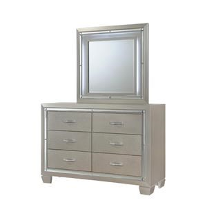 Elements International Platinum Youth Dresser and Mirror Set