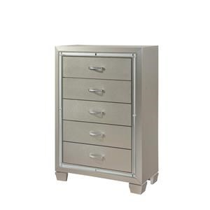 Elements International Platinum Youth Five Drawer Chest