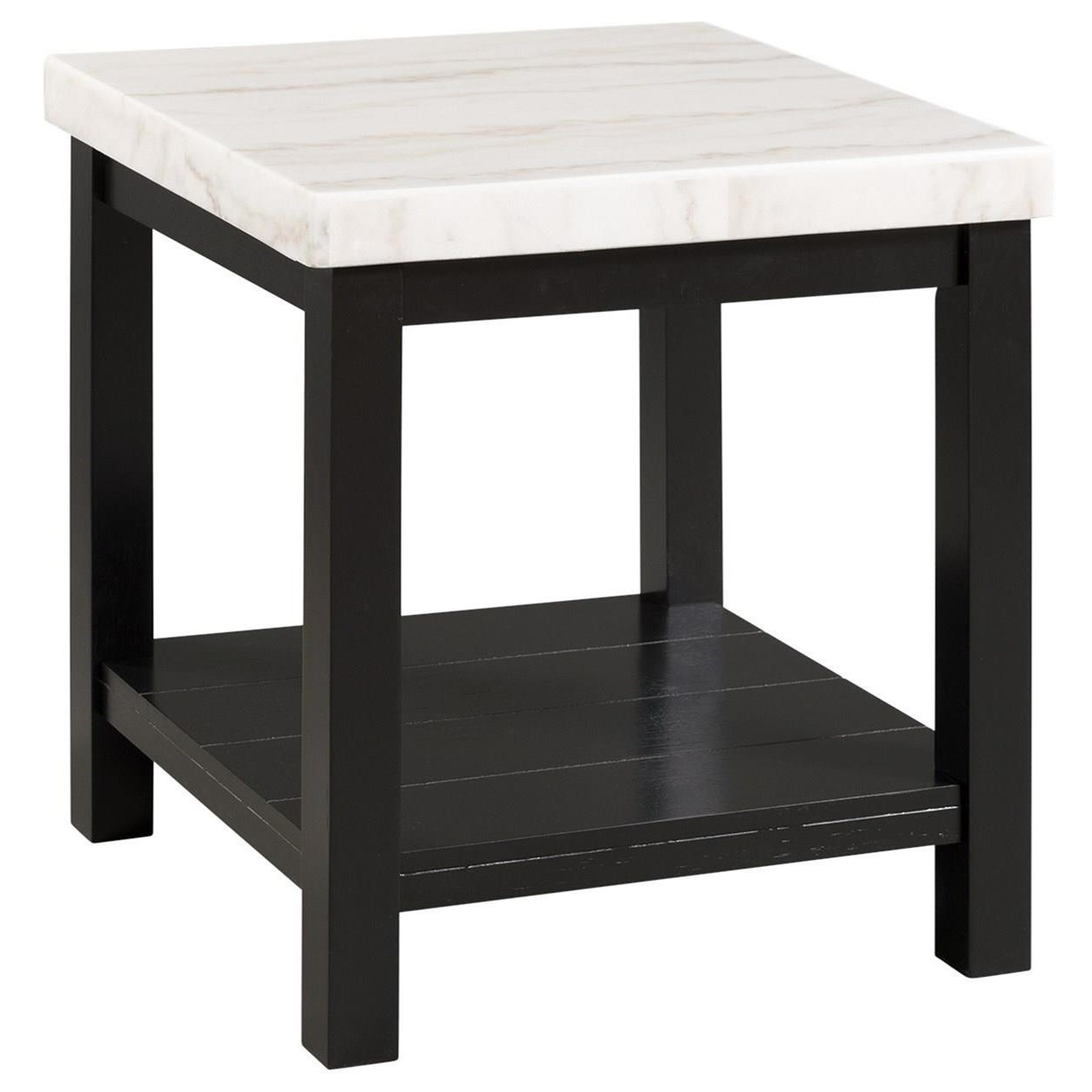 Picture of: Elements International Marcello Contemporary End Table With Marble Top And Open Shelf Lindy S Furniture Company End Tables