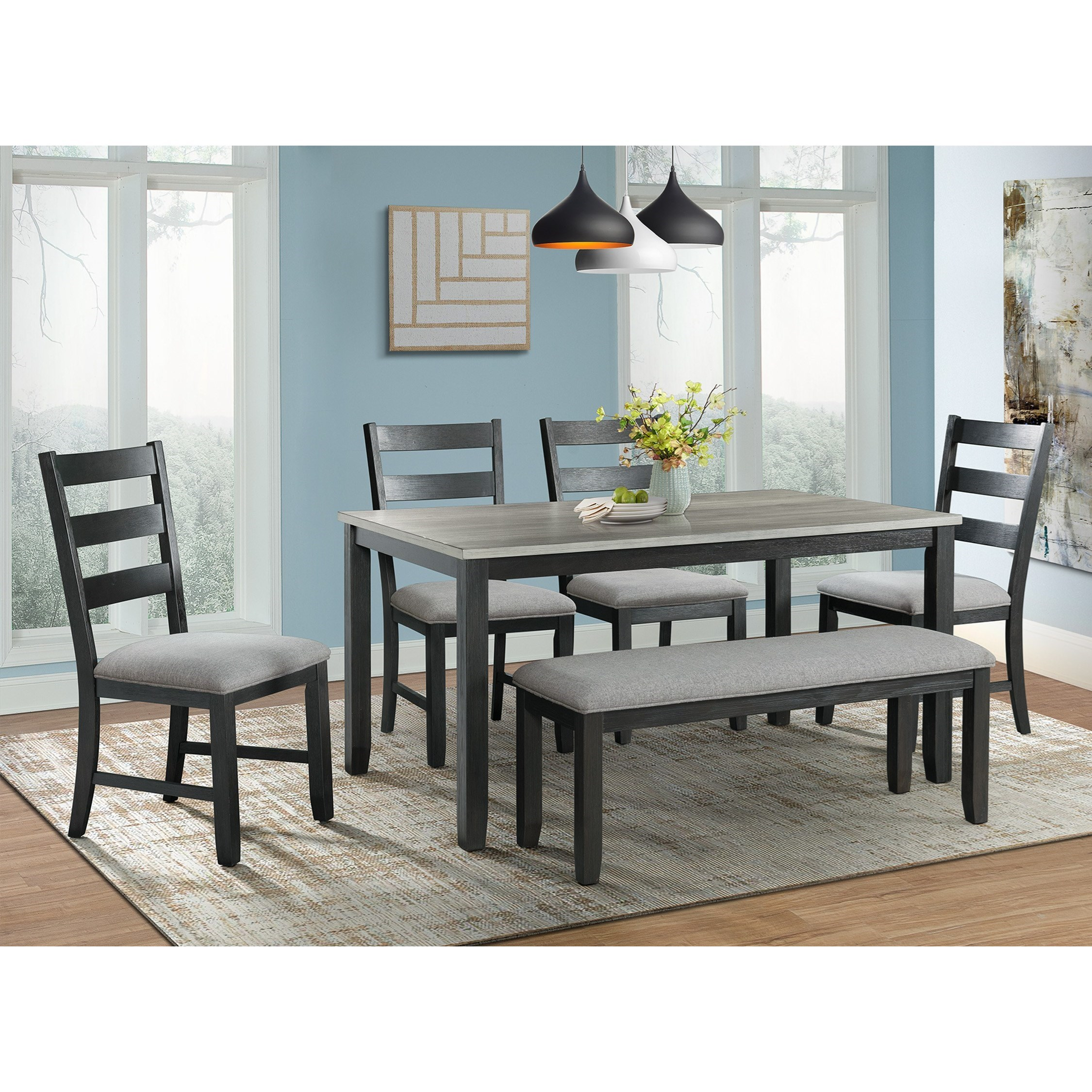 Elements International Martin Rustic Dining Table Set with Bench