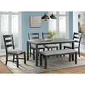 Elements Martin Dining Table Set with Bench - Item Number: DMT3006DS