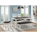 Elements Martin Dining Table Set with Bench - Item Number: DMT7006DS
