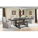 Elements International Morrison Table Set with Dining Bench - Item Number: DMO100DT+DB+110BN+2xSFAC+3xFSC