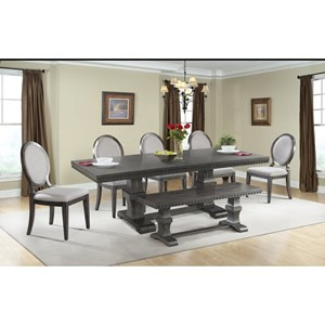 Elements International Morrison Table Set with Dining Bench